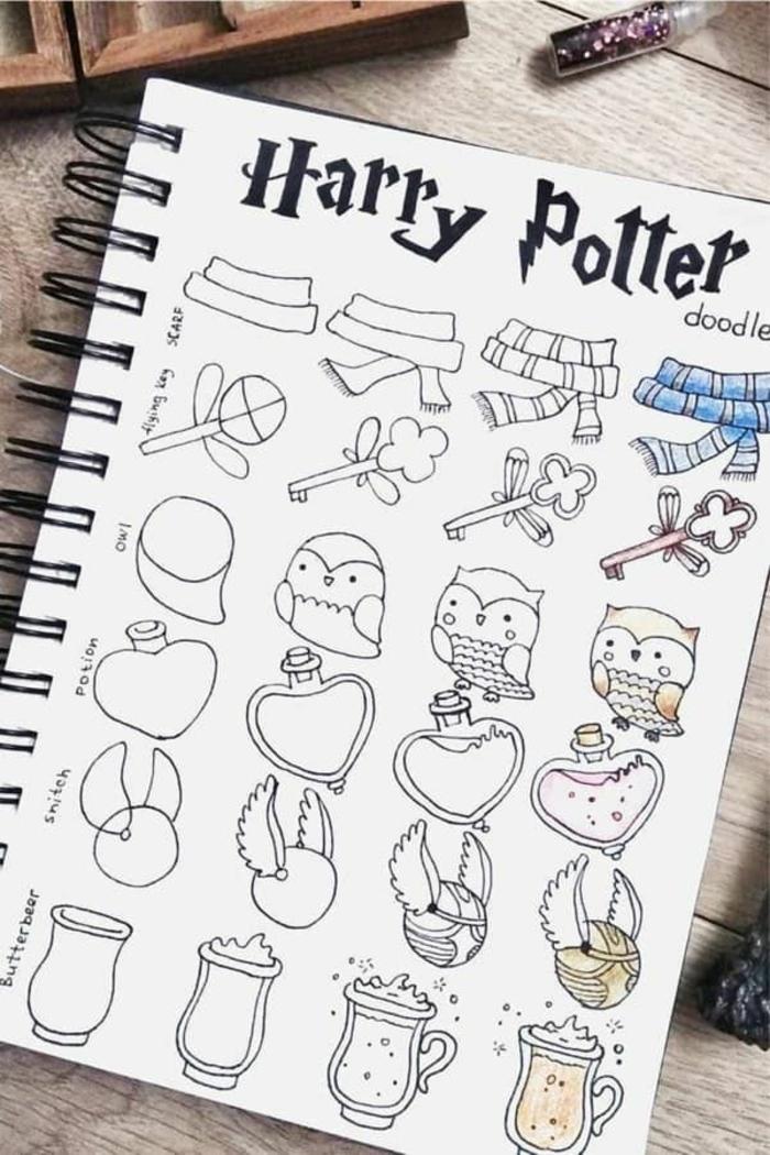 ideas de harry potter para dibujar y detalles chulos que puedes redibujar en casa, dibujos pequeños para niños y adultos