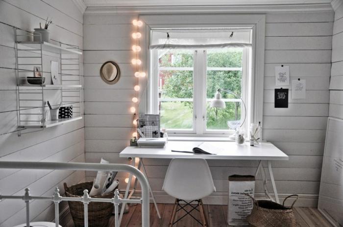 ideas bonitas sobre como iluminar tu puesto de trabajo en casa, decoracion con cadena de luces, mesa despacho ikea