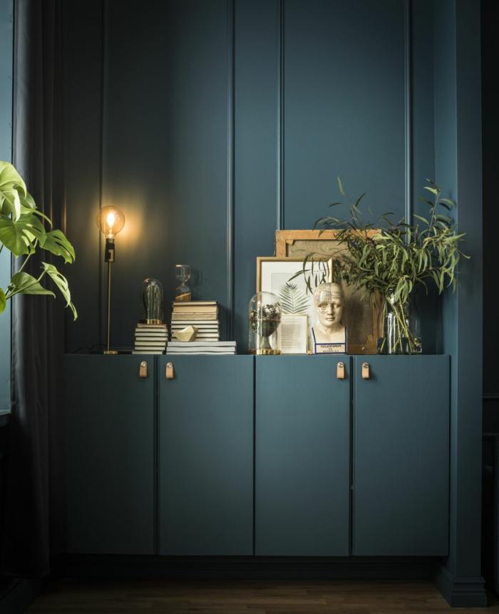 muebles pintados a la tiza antes y despues, espacio decorado en color verde oliva, ideas sobre como decorar un ambiente vintage