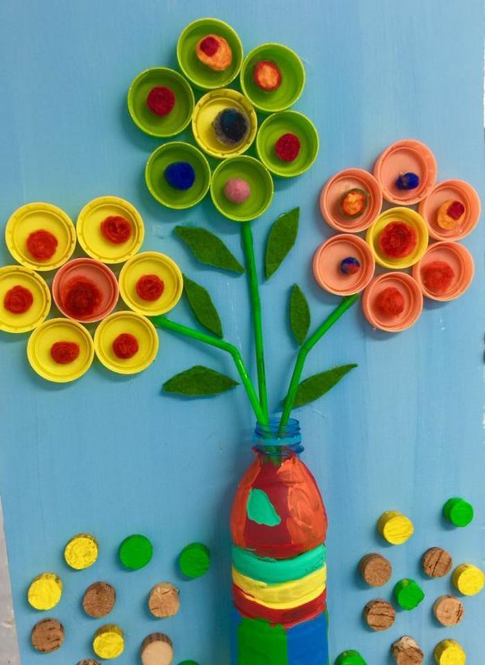 flores de reciclaje, bonitas flores con tapas de botellas de plastico, botellas de plastico decoradas para decorar la casa