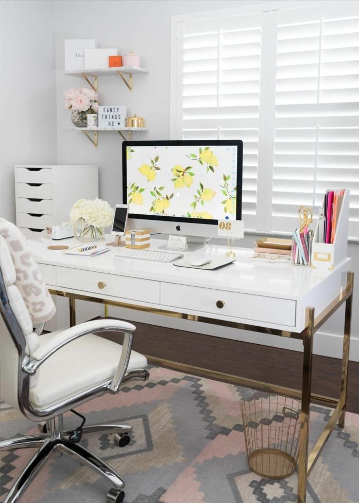 despacho decorado en blanco con muebles comodos y funcionales, mesa escritorio ikea, ideas para decorar la oficina en estilo nordico