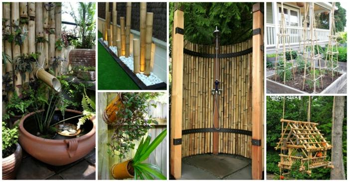 seis ideas sobre como decoar el jardin, cañas bambu decoracion, ideas de detalles decorativos con bambu, fotos de decoracion bambu