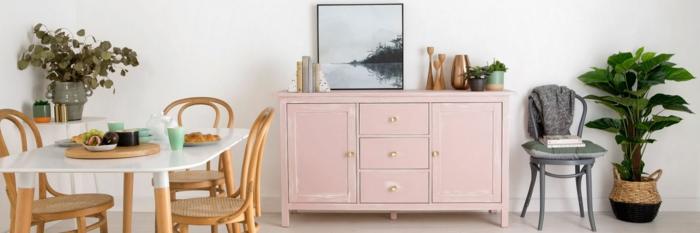 salon comedor decorado en estilo vintage, armario pintado en color verde rosa, ideas sobre como decorar un salon