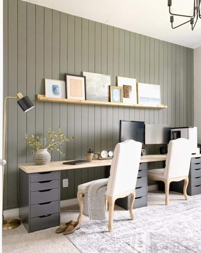 mesa escritorio ikea, decoracion en colores terrestres, originales ideas para montar tu propia oficina en casa, ideas de decoracion