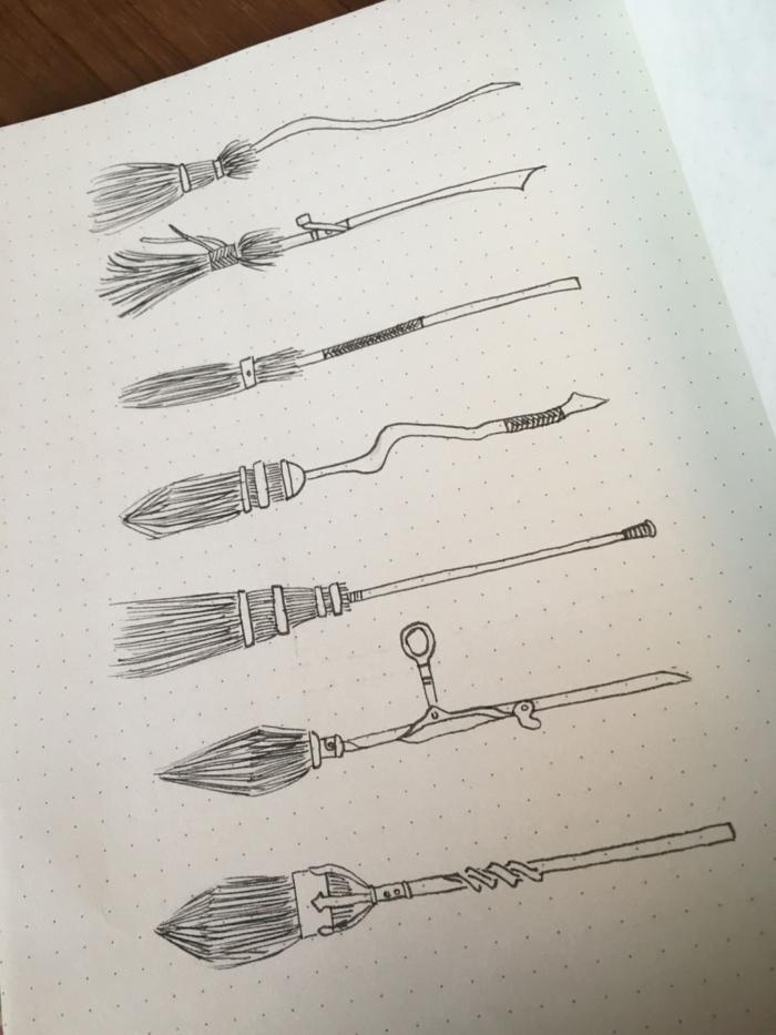 dibujos a lapiz en un cuaderno, los diferentes tipos de escobaas de QUidich, ideas de dibujos inspiradores de Harry potter