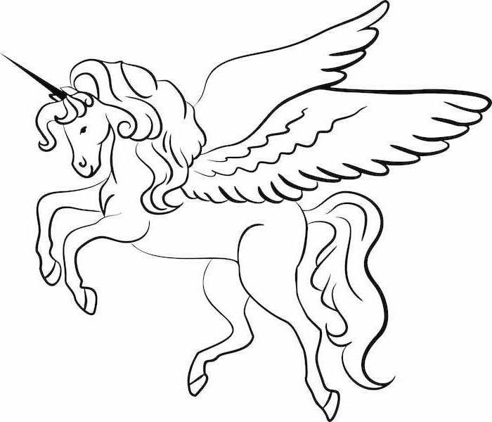 precioso dibujo de unicornio en balnco y negro para descargar y calcar, dibujos para colorear de unicornios, como dibujar un unicornio