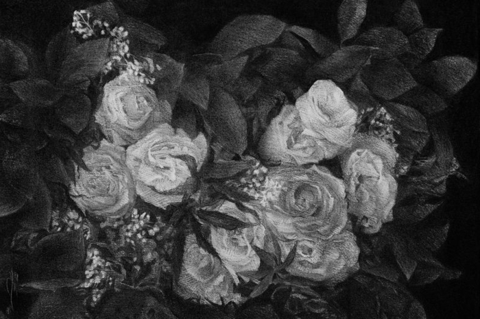 adorable dibujo de rosas blancas, ideas de dibujos chulos y bonitos, fotos de dibujos de rosas originales