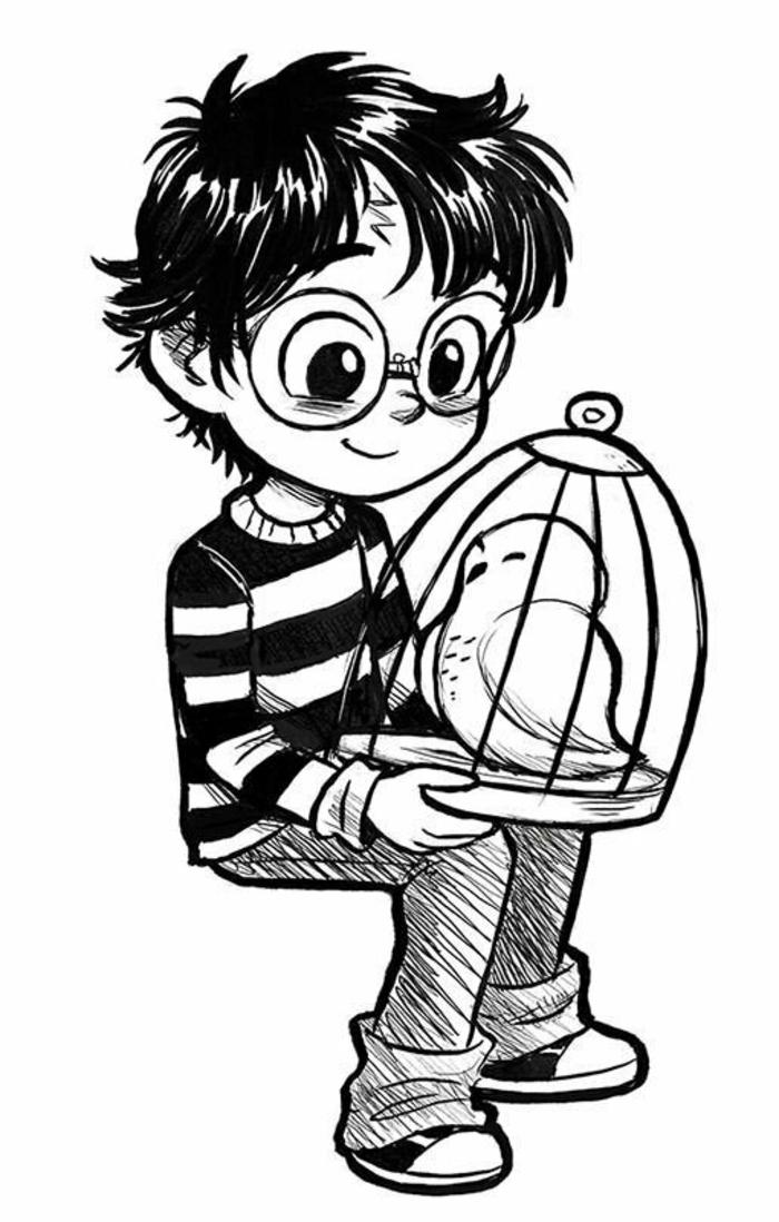 como dibujar a harry potter paso a paso, dibujos chulos y simbolicos, ideas para dibujar a personajes magicos y chulos