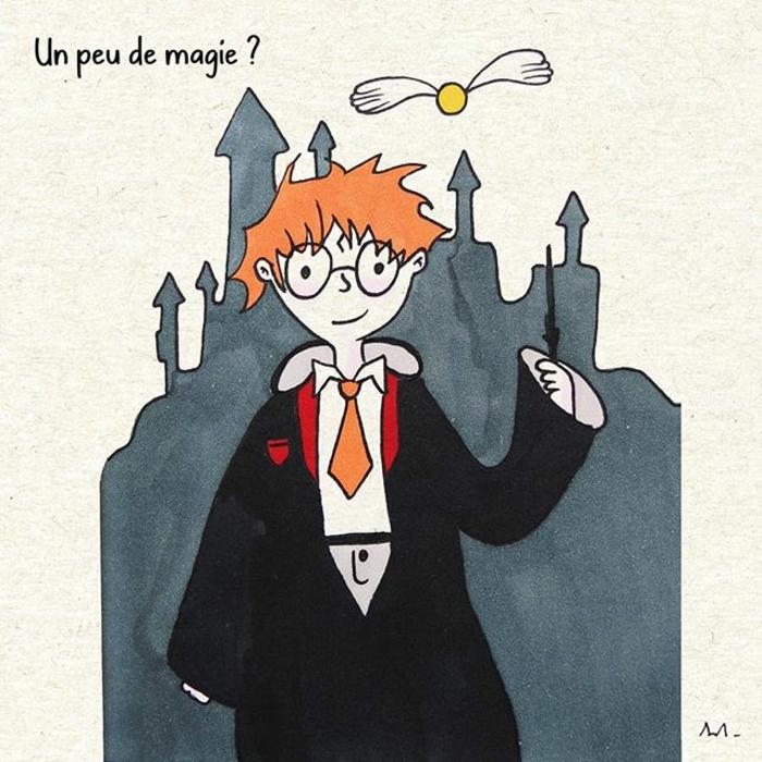 precioso dibujo de Ron WIsley en colores, como dibujar a harry potter y sus amigos, ideas de dibujos inspriadores
