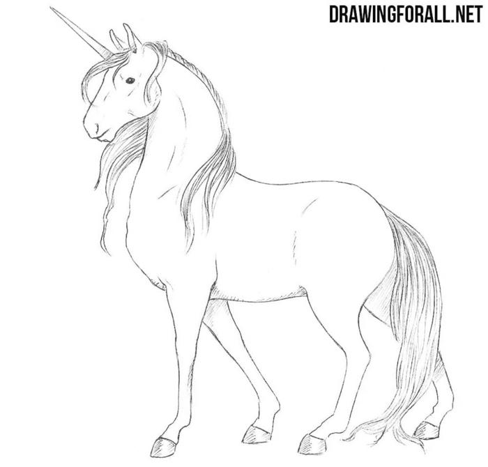 ideas de dibujos de uniocrnios clasicos y chulos, fotos de dibujos para principiantes y adultos, ideas de dibujos originales
