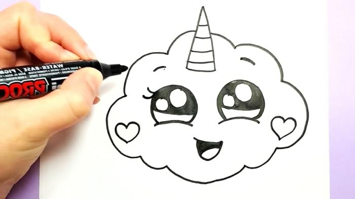 nube unicornio con un simpatico cuerno, dibujos para colorear de unicornios, como dibujar un unicornio, los mejores ejemlplos de dibujos kawaii