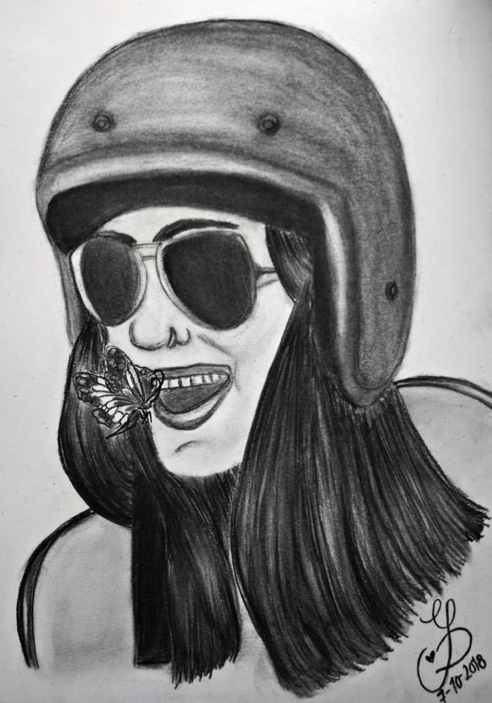 ideas de dibujos en blanco y negro, originales, retratos de mujeres faciles de hacer, fotos de dibujos