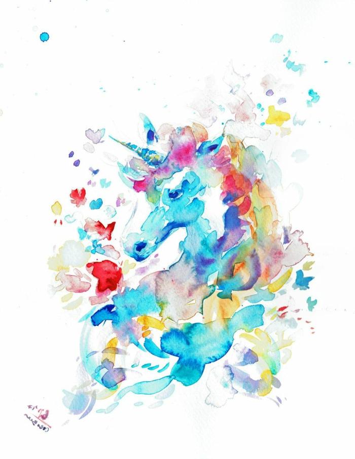 dibujar con acuerelas paso a paso, dibujo de unicorniom magico, ideas de dibujos chulos, dibujos a lapiz faciles para niños