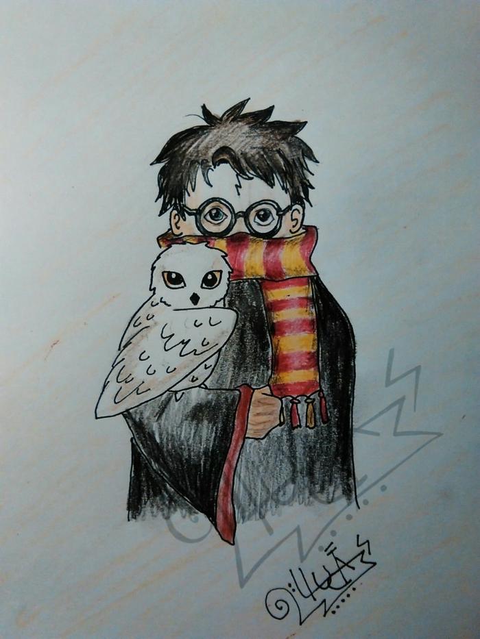 fotos de dibujos inspiradores en colores del mundo de Harry Potter, fotos con ideas sobre como dibujar a harry potter