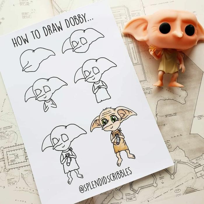 dibujar al elfo domestico dobby, dibujos para niños y adultos paso a paso, tutoriales de dibujos chulos y divertidos