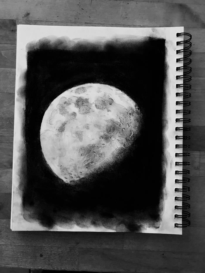 magnificas ideas de dibujos de la luna, dibujos de paisajes, dibujos realistas, fotos de dibujos magicos