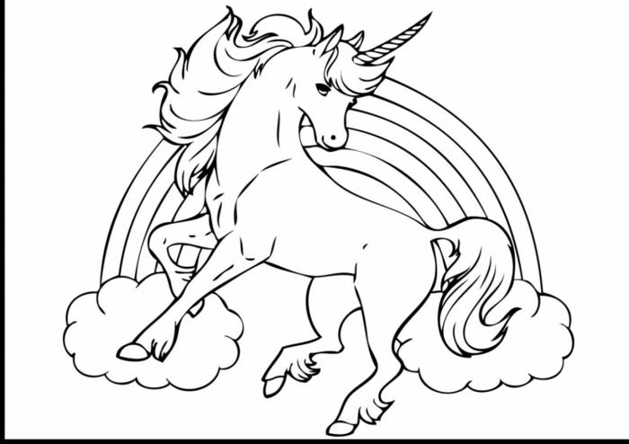 geniales ejemplos de dibujos de unicornio para descargar, imprimir y colorear, dibujos para pintar chulos y faciles en fotos