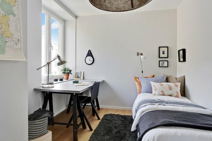 muebles de oficina comodos y bonitos, ideas para decorar la habitacion originales, dormitorio con escritorio moderno
