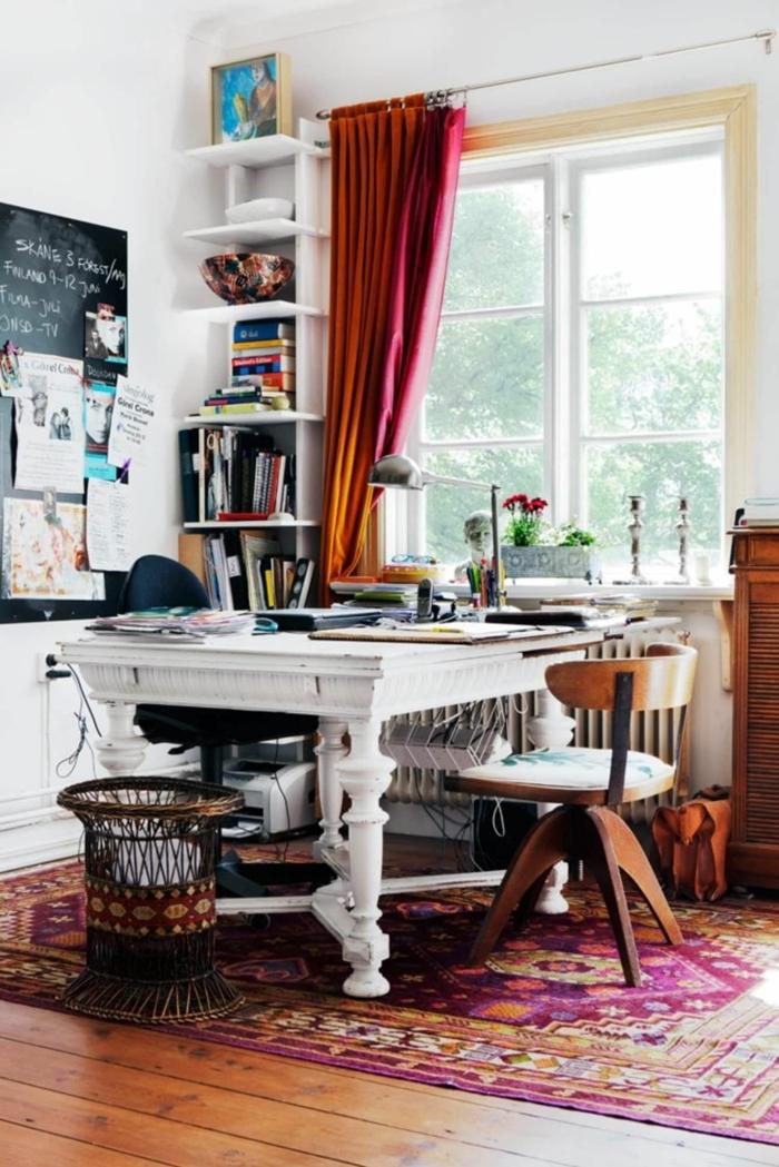 espacio decorado en estilo vintage, ideas para decorar la casa, sitios para teletrabajar, ideas de muebles de oficina