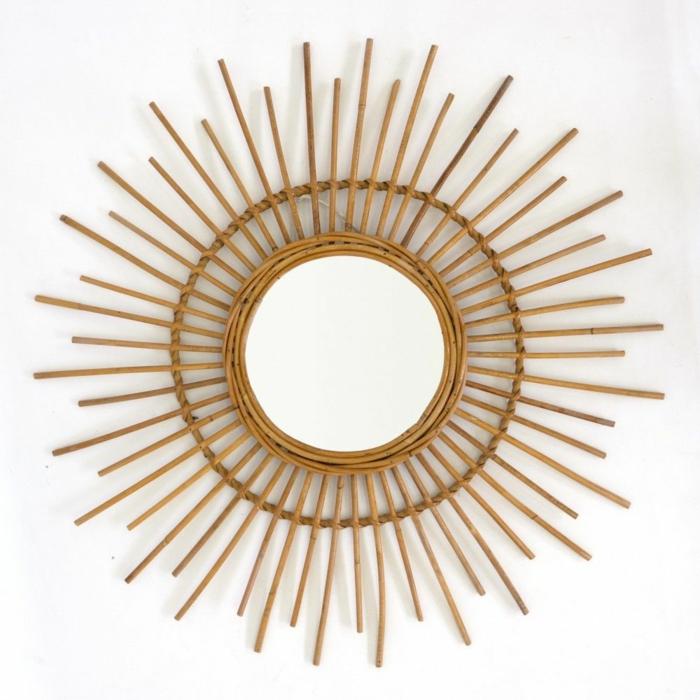como hacer un espejo con bambú paso a paso, decoracion con bambu, espejo sol en estilo vintage, ideas para decorar la casa