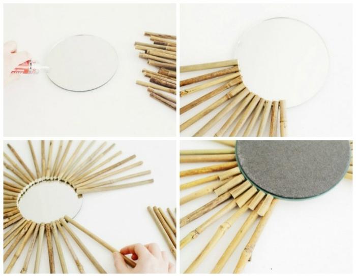 pasos para hacer un espejo sol zen de palos de bambú, decoracion con bambu facil y bonita para tu hogar, tutoriales de manualidades para adultos