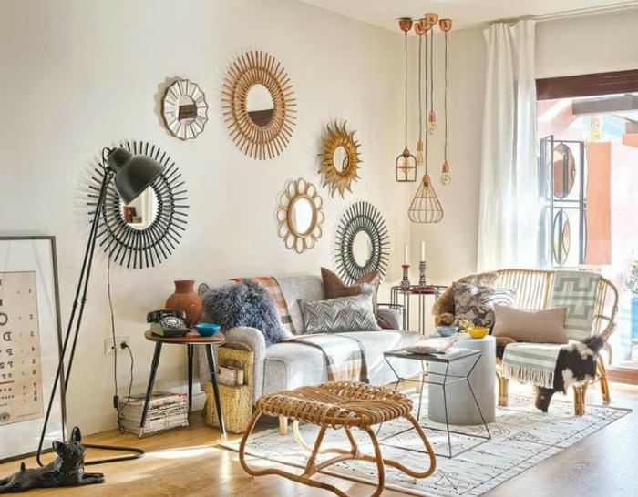 decoracion con bambú original, espejo en estilo vintage hecho de bambú, decoracion con bambu fácil y bonita en estilo zen