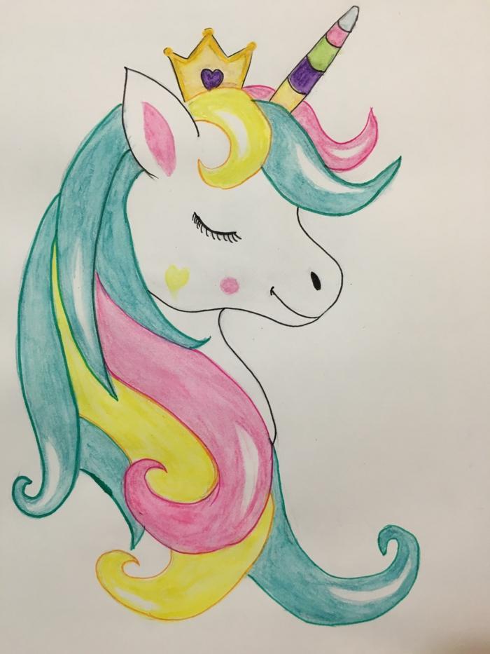 aprender a dibujar para principiantes, ejemplos de dibujos chulos con acuarelas, dibujos de unicornios originales y bonitos
