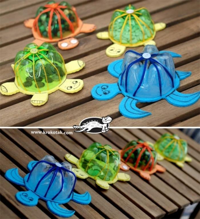 tortugas de btellas de plastico originales y divertidas, botellas de plastico decoradas, fotos de manualidades paso a paso