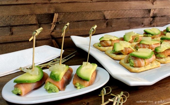 mini pinchos con jamon y aguacate, ideas de tapas faciles y saludables, aperitivos espectaculares y faciles en 90 imagenes