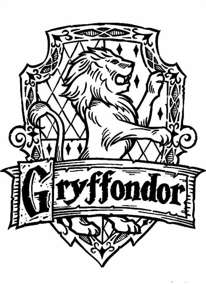 como dibujar el escudo de Griffondor, detalles bonitos para calcar y colorear, harry potter para dibujar, dibujos de harry potter para niños, dibujos a lapiz, dibujos bonitos, dibujos para niños, dibujos faciles de hacer