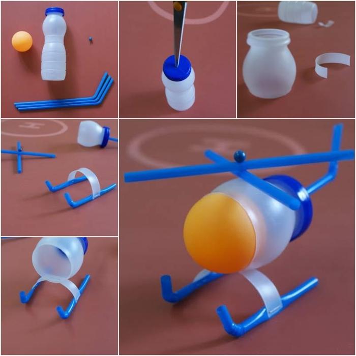 manualidades en casa paso a paso, avion pequeño hecho de de plastico, juguetes para los mas pequeños hechos de plastico