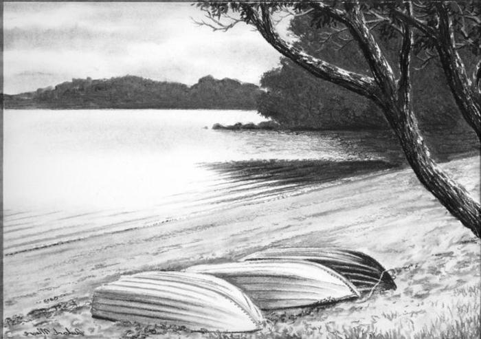 dibujos de paisajes a carboncillo, ideas de paisajes bonitos en blanco y negro, fotos de dibujos hermosos