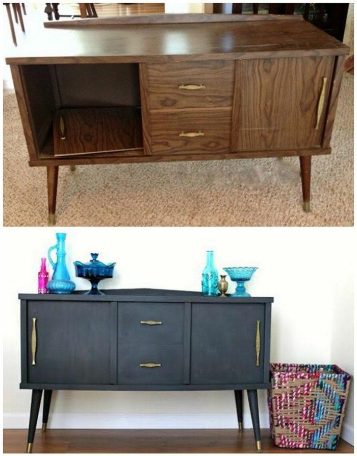 muebles pintados a la tiza antes y despues, cofres de madera pintados en bonitos colores, cofre pintado en color gris oscuro