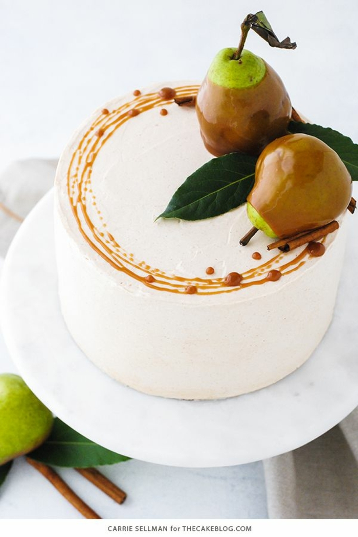 decorar una tartas con peras caramelizadas, ideas de tartas decoradas caseras, tartas infantiles, fotos de tartas de cumpleaños