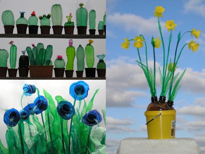 manualidades con botellas de plastico grandes, como hacer cactus de botellas de plastico verdes, manualidades originales