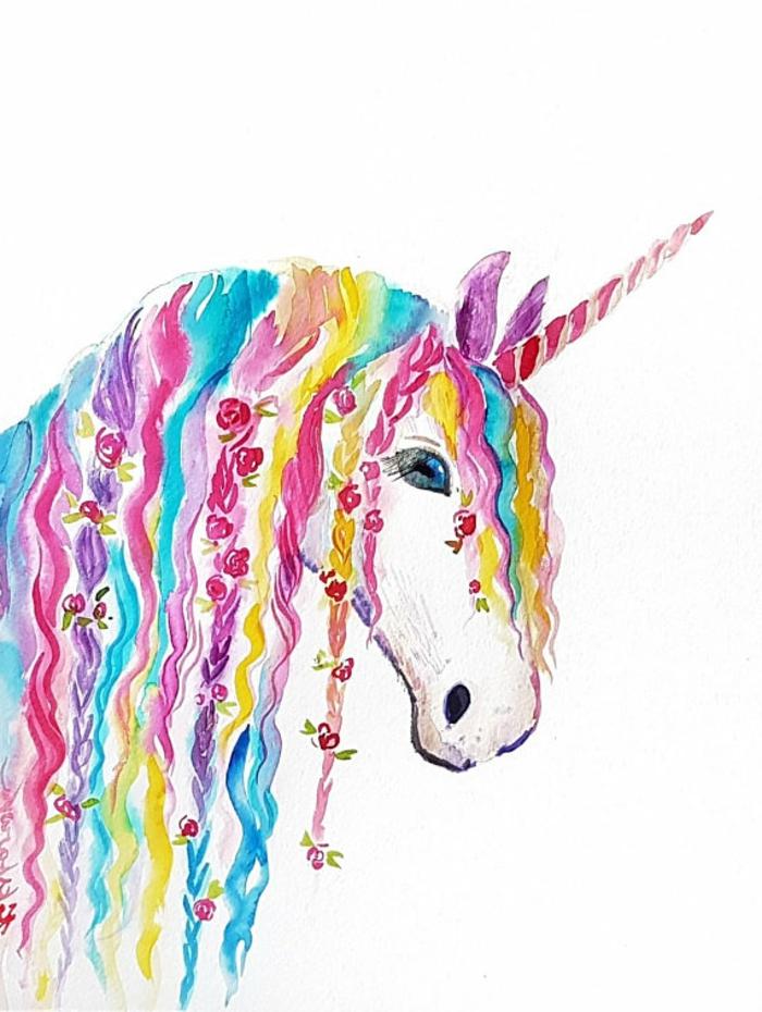 como dibujar un unicornio con acuarelas, alucinantes ideas de dibujos de unicornios para pequeños y adultos, ideas de dibujos