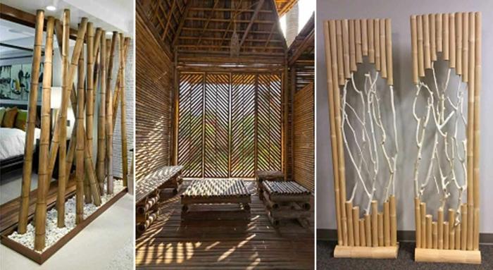trea variantes de separadores de ambientes, cañas de bambu decoracion, ideas decorativas bonitas para exteriores e interiores con bambuu, cañas bambu decoracion