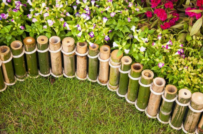 ideas decorativas para el jardin con palos de bambu, decoracion con palos de bambu, ideas para decorar el jardin bonitas
