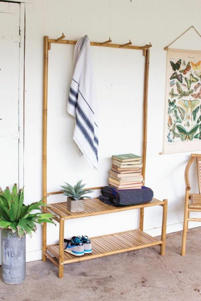 estanteria de bambu para tu pasillo, cañas de bambu decoracion, ideas decorativas bonitas para exteriores e interiores con bambuu, cañas bambu decoracion