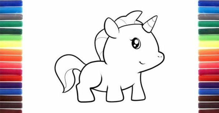 paginas de colorear chulas, ideas de dibujos par principiantes y niños, unicornios dibujos kawaii, dibujos de unicornios para pintar