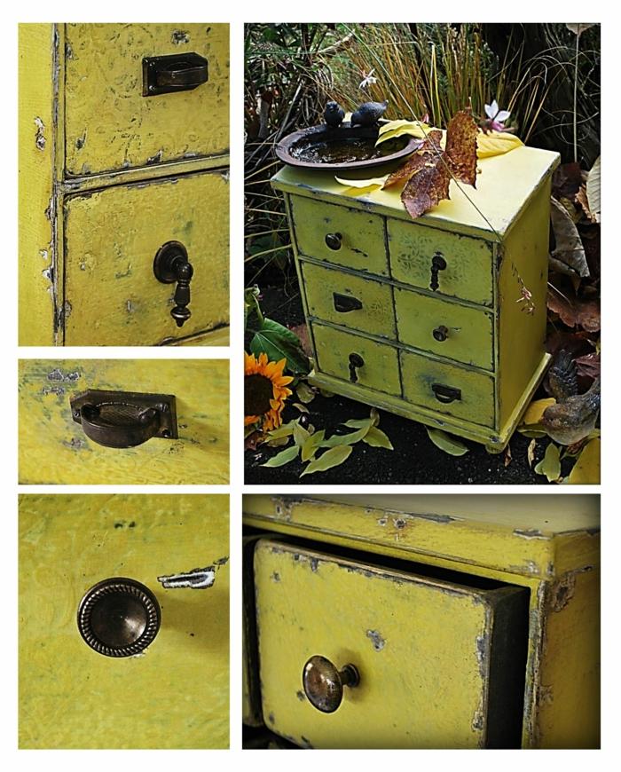 muebles de jardin con efecto desgastado, muebles pintados con pintura a la tiza, fotos de muebles renovados con muebles a la tiza