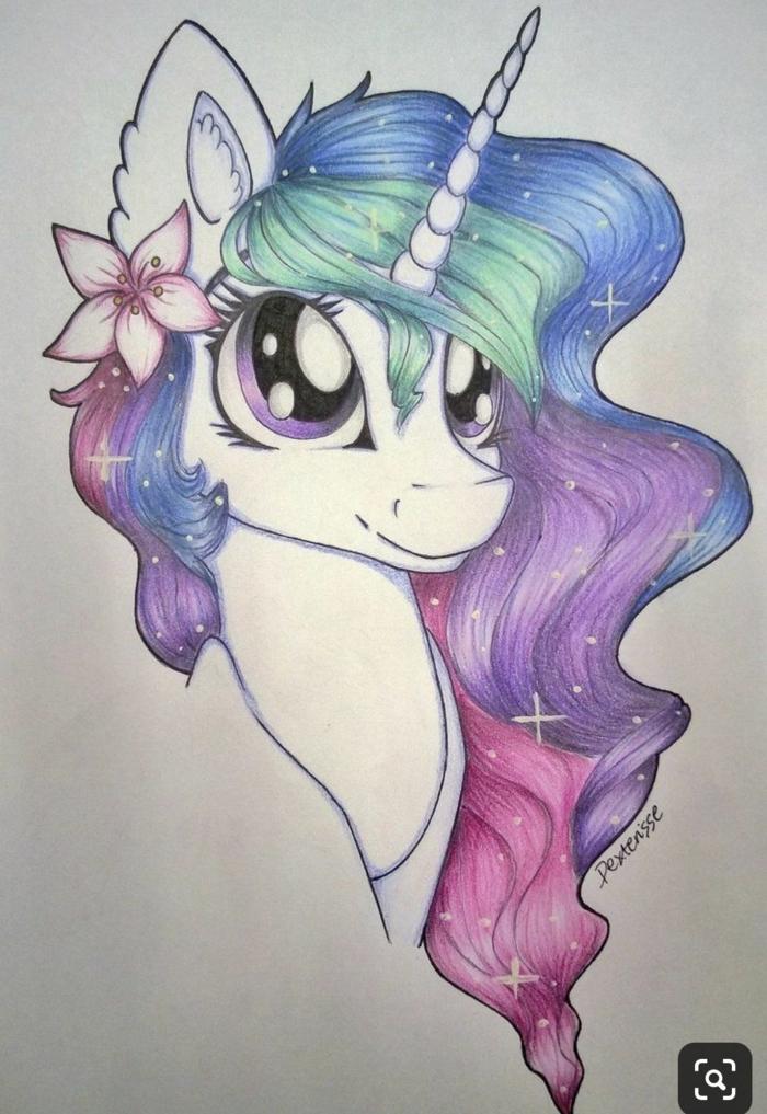 alucinantes ideas sobre como dibujar un unicornio, dibujos chulos para pequeños y adultos, ideas de dibujos originales