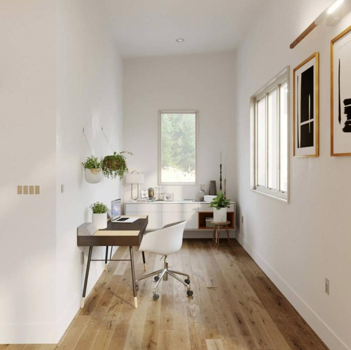 corredor decorado para teletrabajar desde casa, ideas sobre como organizar el pasillo para otpimizar el espacio en tu casa