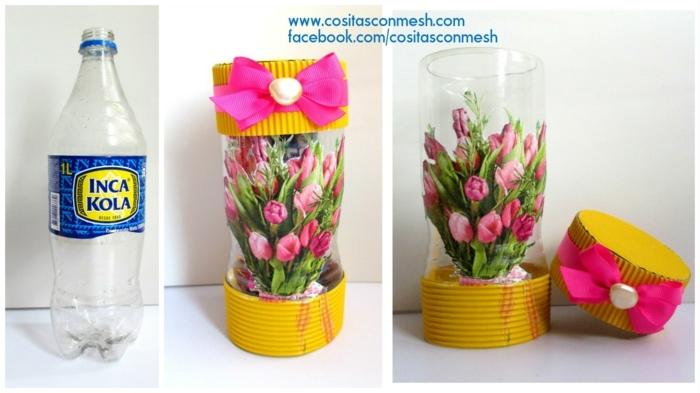 bonitas ideas de manalidades para regalar originales, manualidades con botellas de plastico grandes en fotos con tutoriales