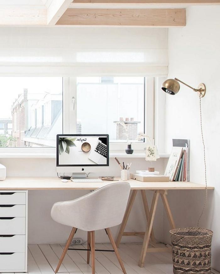 despacho pequeño decorado en colores pasteles, muebles de oficina funcionales y modernos, decorar la casa paso a paso