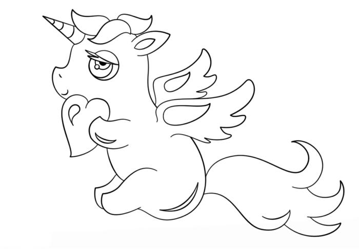 unicornio con corazón para pintar, dibujos para colorear de unicornios, como dibujar un unicornio, fotos de dibujos