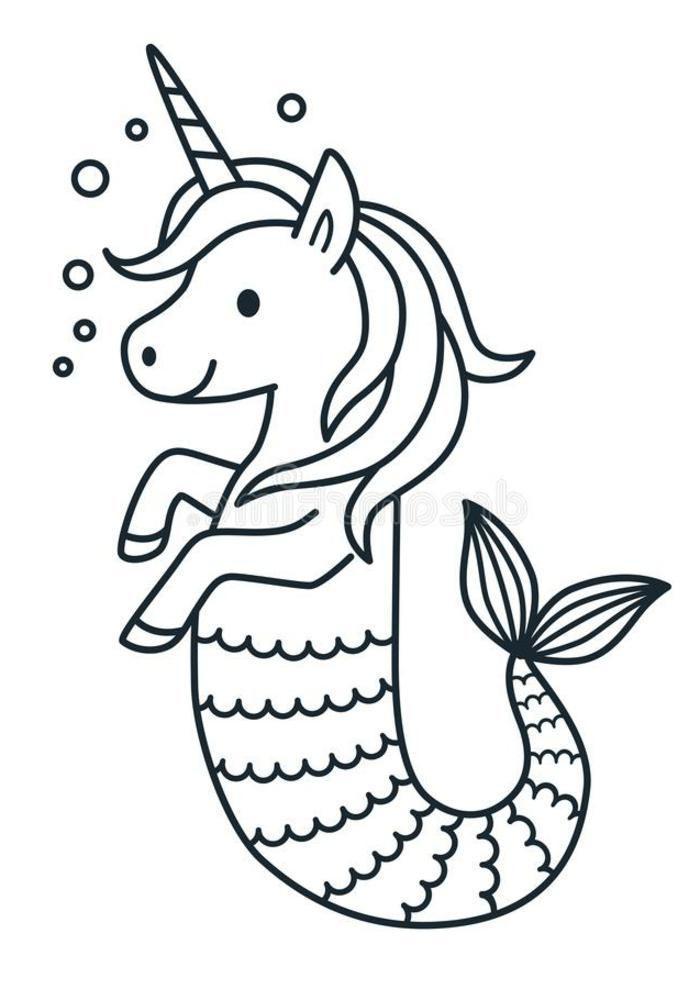 unicornio sirena, fenomenales ejemplos de dibujos para colorear, dibujos para colorear de unicornios, como dibujar un unicornio