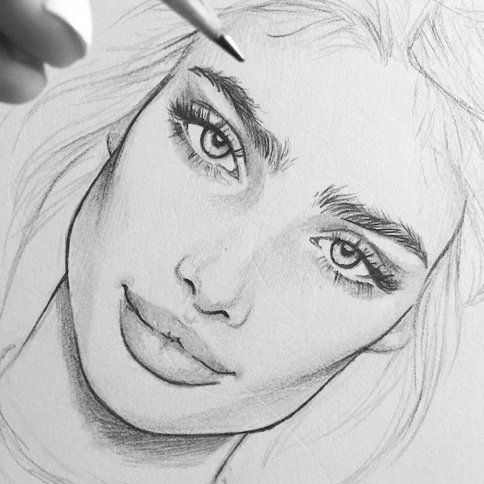 como dibujar una cara paso a paso, ideas de dibujos de caras en estilo realista, los mejores dibujos de personas