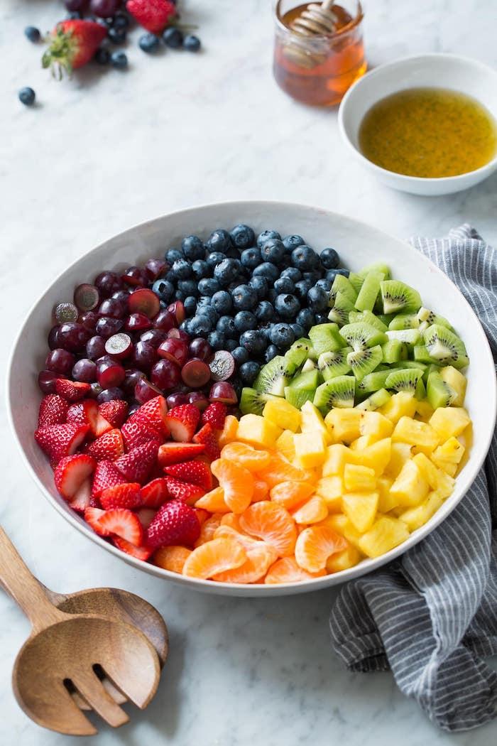 ensalada de frutas, uvas, fresas, naranjas, fotos de ensaladas sanas y nutritivas, postres faciles para impresionar