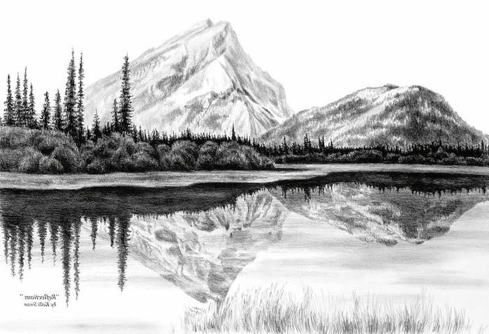 0 originales ejemplos de paisajes dibujos a lapiz montaña lago arboles reflejo en el agua ideas de dibujos chulos a lapiz